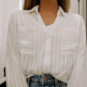Express Portofino Shirt Sheer Striped Button Down